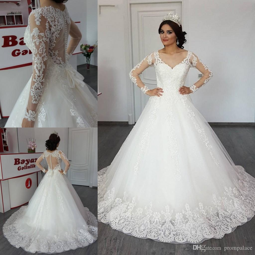 4739f9ce95 Latest Hot Sale V Neck Wedding Dresses A Line Long Sleeve Lace Wedding  Covered Button Back Appliques Bridal Wedding Gowns Online Wedding Dresses  Petite ...