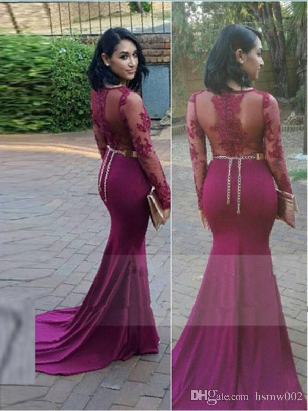 Modest Scoop Neckline Long Sleeves Mermaid Prom Dresses Sexy Appliques Beadings Illusion Sheath Evening Gowns Robe de soriee Custom Made