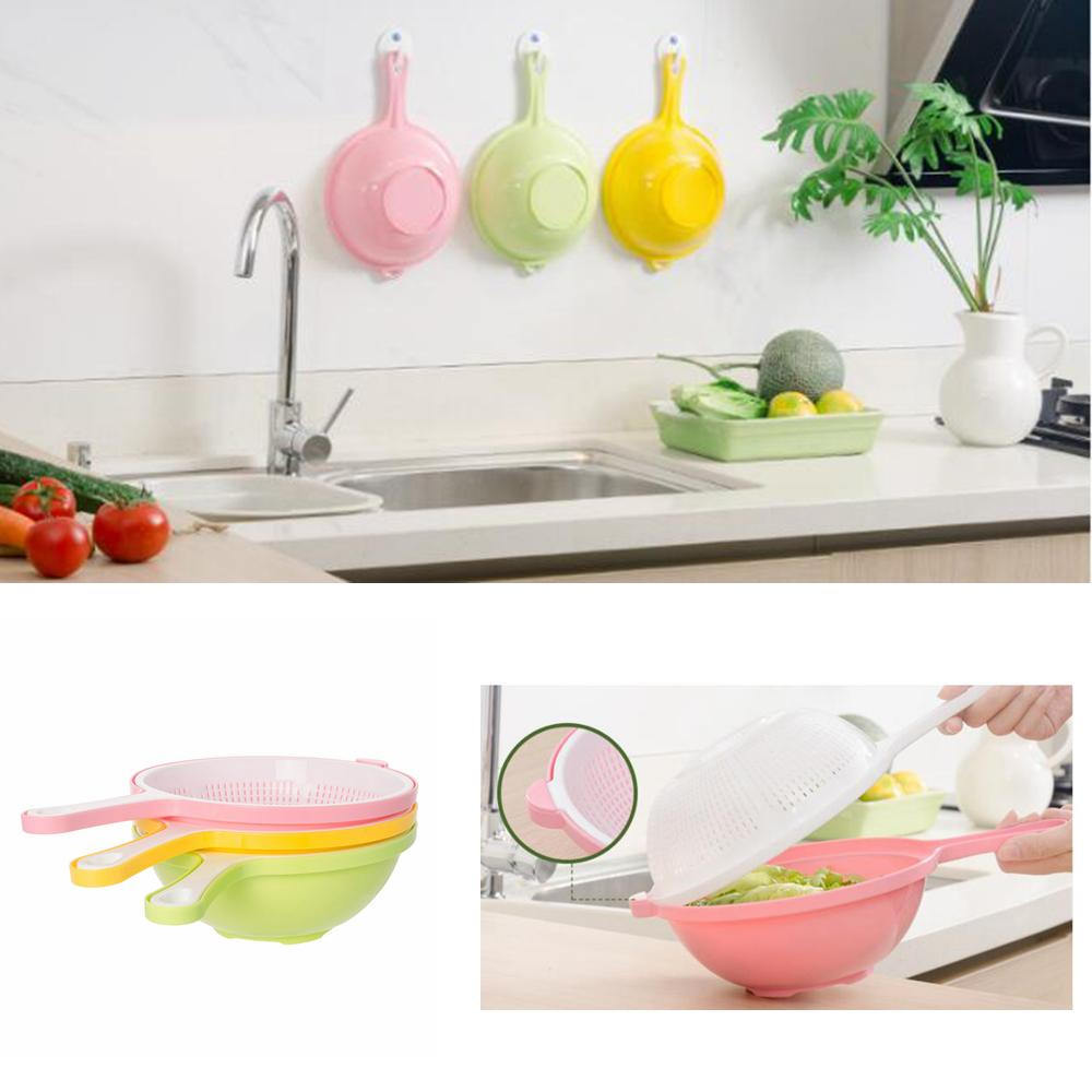 Kitchen Double Layer Washing Basket Plastic Multi Function Sink