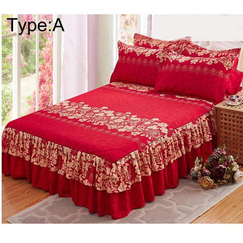 aihome new high quality bedspread queen bed skirt thickened fitted