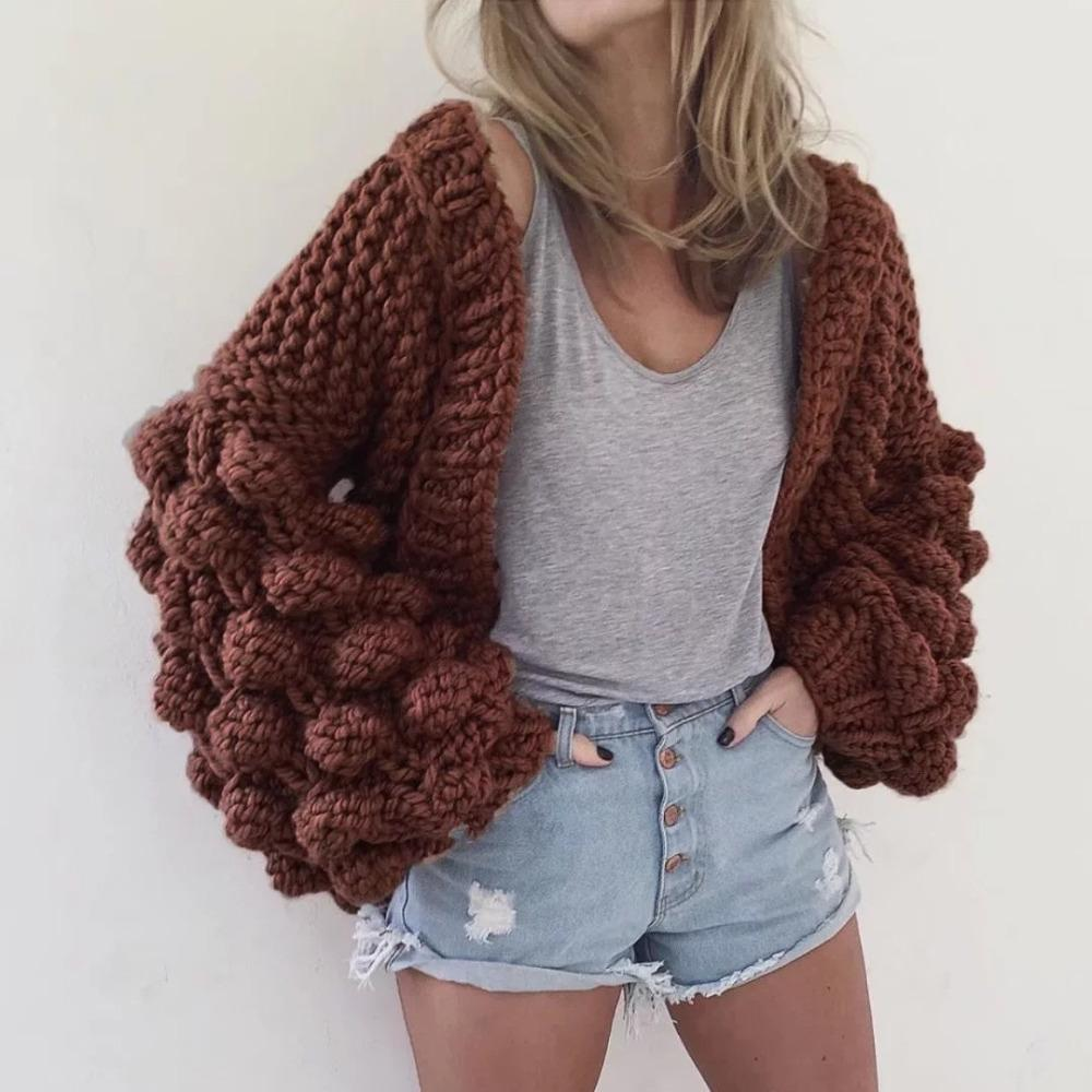 c99cf44050 2019 High Quality Women Loose Cardigan Oversize Knitted Sweater Autumn  Winter Thick Coat Womens Fashion Cardigans Jumper Pull Femme From  Candycloth