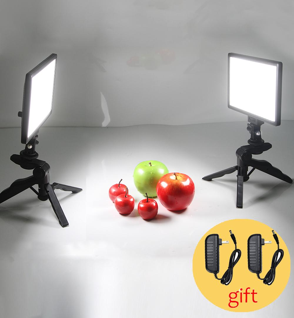Set da tavolo per studio fotografico 2x Voltax L116T Bi-colore dimmerabile LED luce video + 2x mini treppiede + 2x 2 m adattatore CA per DSLR foto