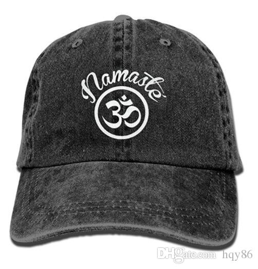 aed91ba427d Namaste With Om Symbol Vintage Adjustable Jean Cap Baseball Cap For Man And  Woman Multi Color Optional Hat Embroidery Cap Rack From Hqy86
