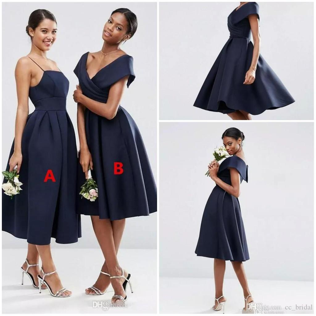 78e41f49a1e8 Elegant Navy Blue Bridesmaid Dresses 2018 Sexy Short Satin Prom Gowns For  Wedding Party Off The Shoulde Tea Length Homecoming Gowns Purple Flower Girl  Dress ...
