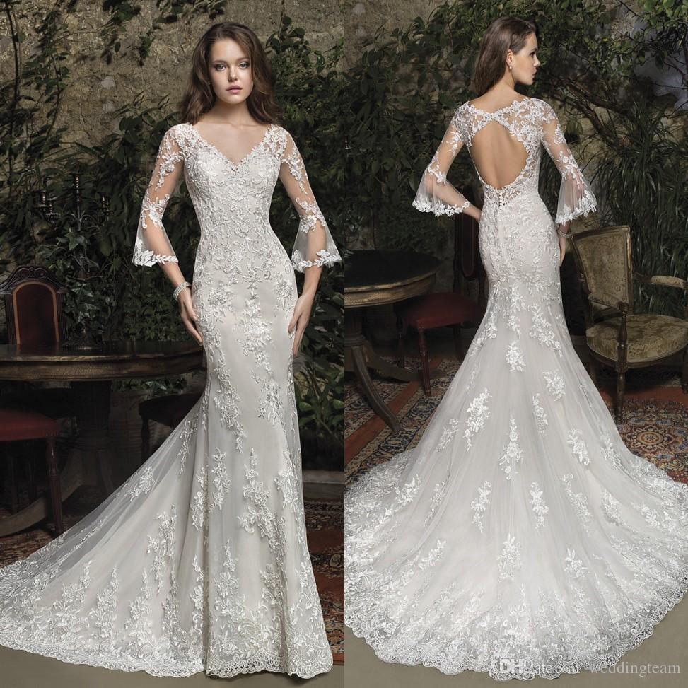 82317314cb38f Charming Mermaid Lace Wedding Dresses V Neck Long Sleeves Backless Bridal  Gowns Trumpet Sweep Train Vestido De Novia Backless Wedding Dresses Bridal  Dress ...