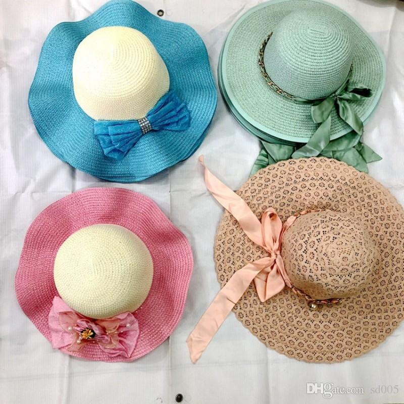 06c714d1f9f Summer Beach Sun Straw Hats For Women UV Protection Caps Portable ...