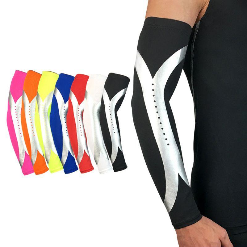1PC Breathable Sports Elbow Arm Cycling Basketball Elastic Long Arm Sleeve.BLUN