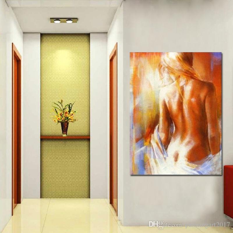 Pintados À mão Sexy Nude Oil Painting Modern Abstrato Da Arte Da Parede Da Lona Decoração de Casa Artesanal Mulheres Nuas Pinturas Imagem