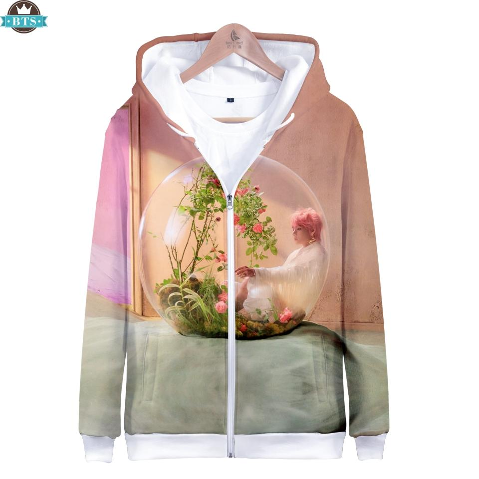 9b57fafbb418 2019 2018 BTS New Album Love Yourself Answer Kpop Zipper Hoodies Women Men  Fashion 3D Print Hooded Sweatshirts Fans Clothes Plus Size From Cashmere52