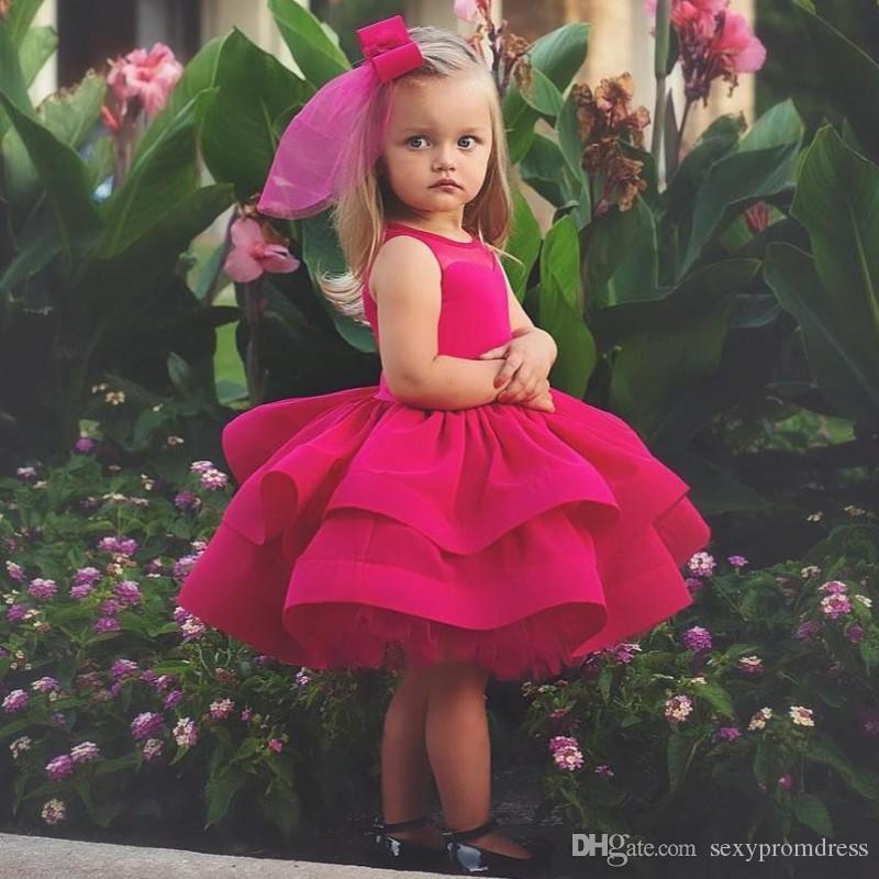 c391c5081b Gorgeous Fuchsia Girls Pageant Gowns Tiered Puffy Knee Length Flower Girl  Dresses For Wedding Tulle Ball Gown Baby Birthday Party Dress Orange Flower  Girl ...