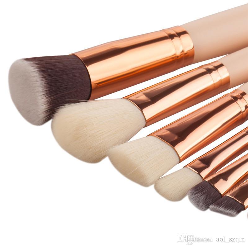 8 unids Kit de Maquillaje Conjuntos de Cepillos con Mango de Madera Pelo Sintético Opción de Tres Colores de Buena Calidad Envío Gratis