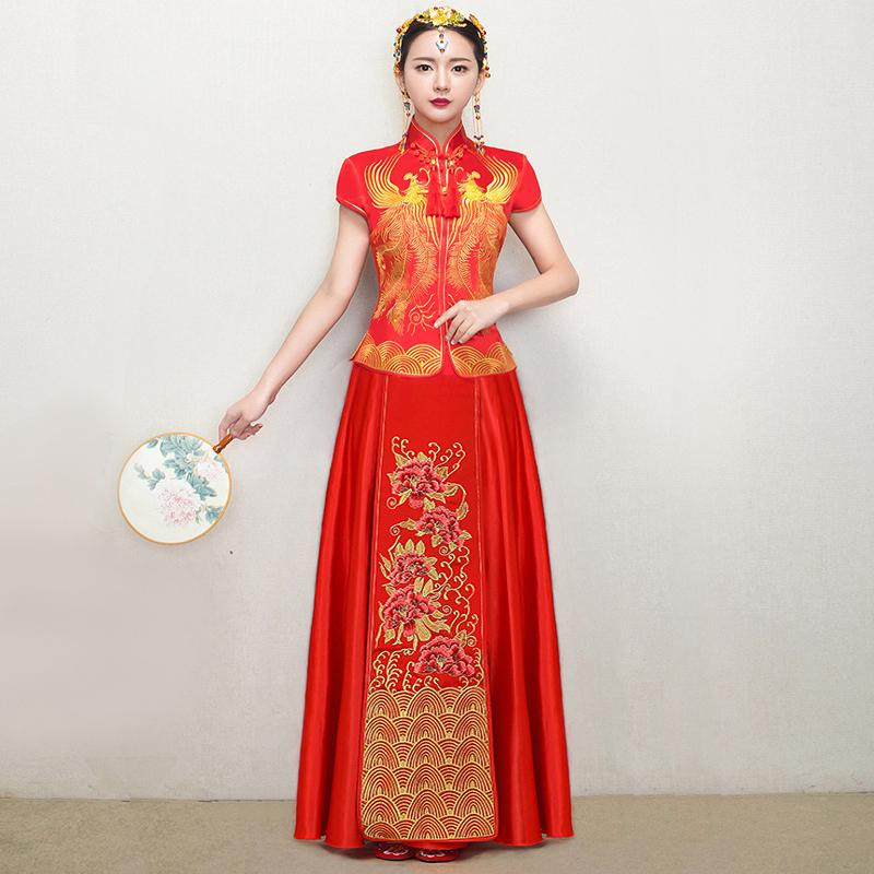 5c2c14b946f ... 2018 bride wedding dress traditional chinese style costume phoenix  cheongsam embroidery clothing luxury ancient royal red ...