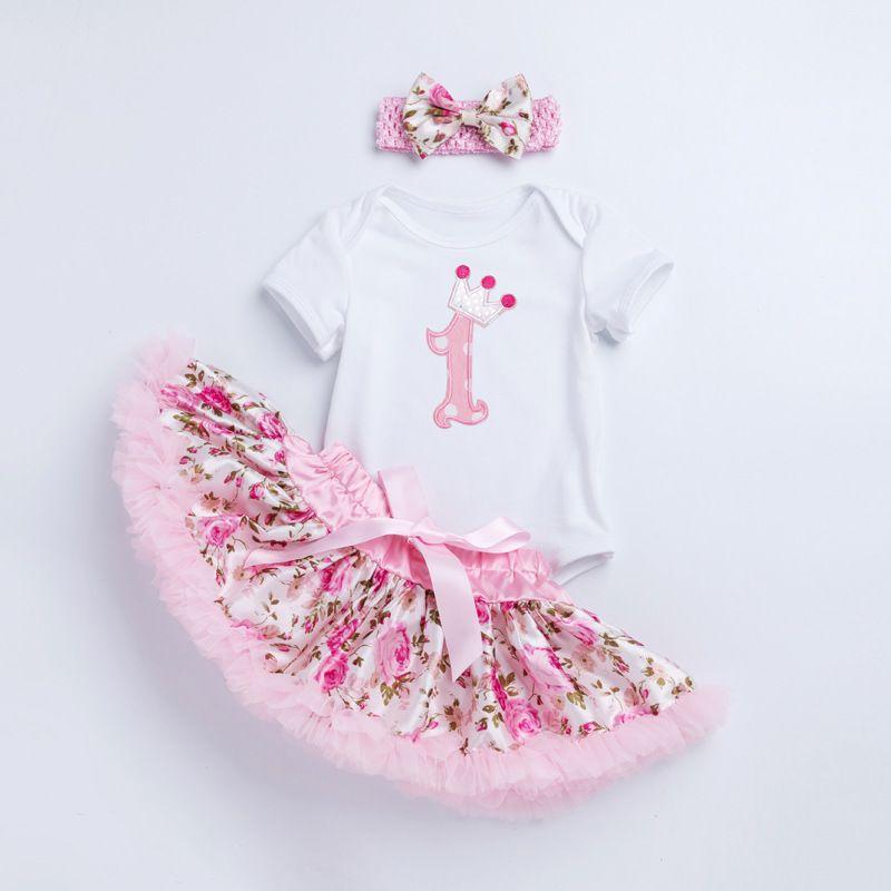 d8d48f7cae7 Baby Girl Bodysuit Set Short Sleeve Romper Tops Princess Tutu Skirt ...