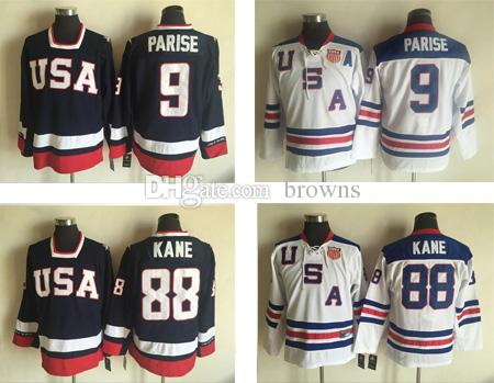 de4c94fd9 2019 2010 Olympic Team USA 88 Patrick Kane 9 Zach Parise White Ice Hockey  Jerseys Embroidery Logos Hockey Jersey From Browns