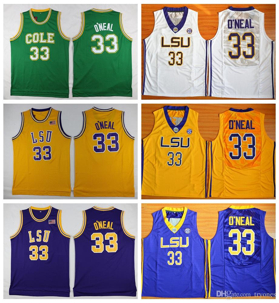 3cbb3f5a2139 2019 Mens Shaq O NEAL Basketball Jerseys Shaquille Oneal 33 COLE High  School Basketball Jersey LSU Tigers Stitched College Basketball Shirts From  Tryones