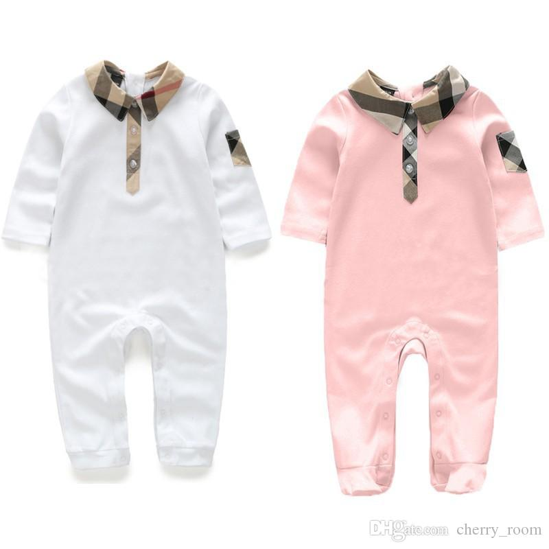 84892cde4 2018 Autumn Baby Romper Plaid Infant Long Sleeve Jumpsuit Turn Down ...