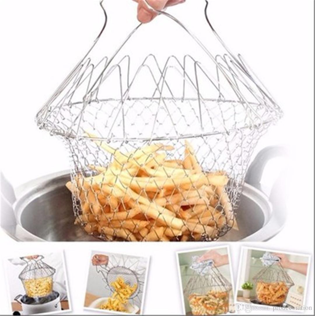 Yeni Yaratıcı Şef Sepeti Katlanır Buhar Durulama Gerginlik Fry Fransız Sihirli Sepet Örgü Sepet Süzgeç Net Mutfak Pişirme Aracı En Kalite