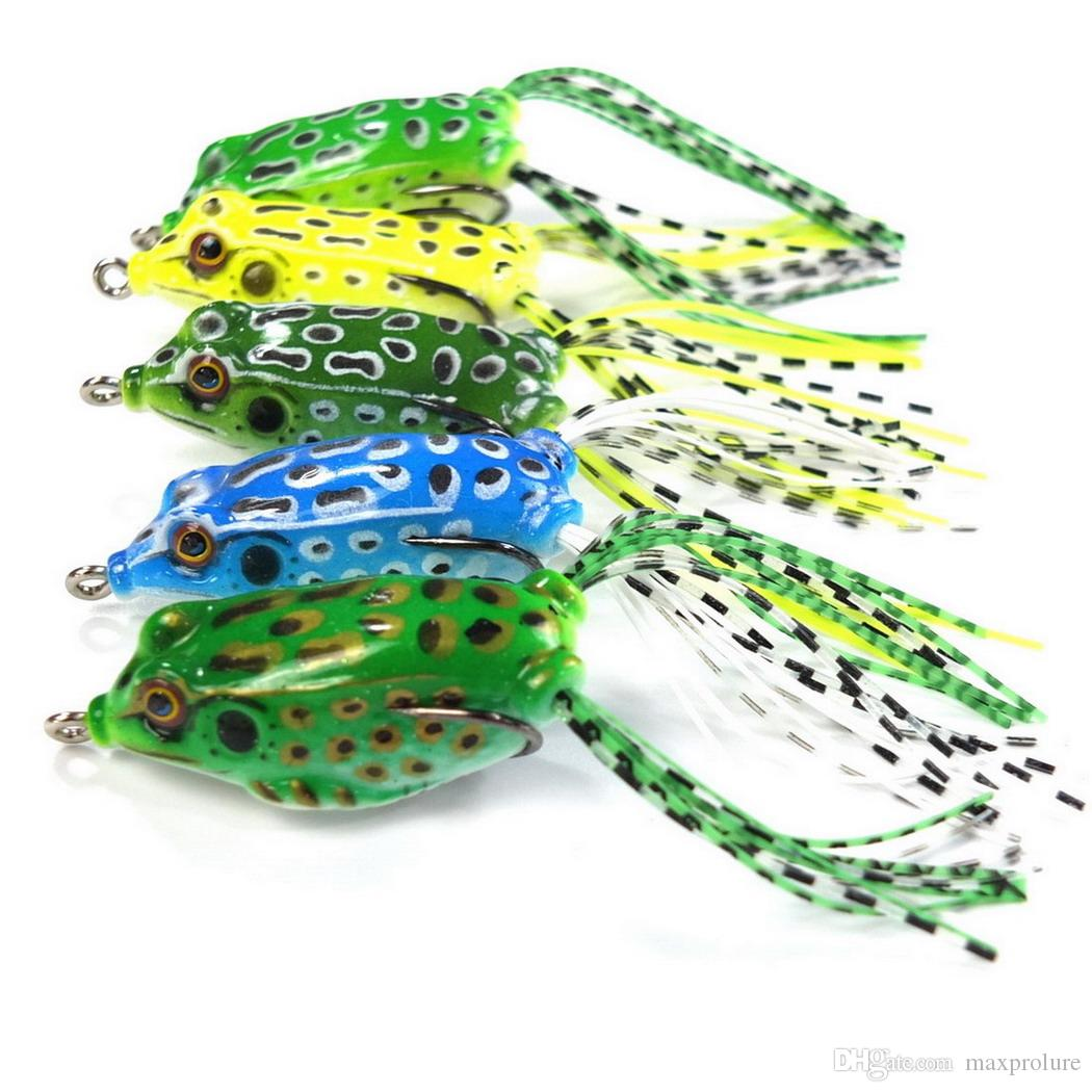 5pc/lot Topwater fishing with High carbon Soft frog Bait 5.5CM 8G Salt Fresh Water Bass Walleye Crappie Minnow Fishing Lure wholesale cheap