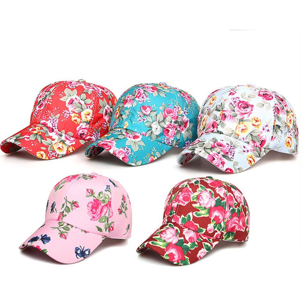 e31fea49094 2019 Korean Women S Hat Floral Print Baseball Caps Girls Summer Shade  Breathable Cap Sun Protection Sports Climbing Hats From Peniss