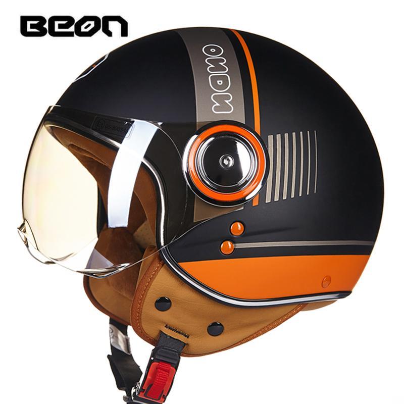 4211c217a1329 Compre Novas Cores BEON Rosto Aberto 3 4 Da Motocicleta Capacete Casco  Capacete Jet Retro Vintage Scooter Capacete De Paping