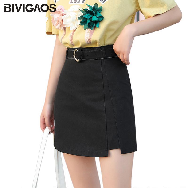 af3be10877 2019 BIVIGAOS 2018 New Summer A Line Short Skirt Women Korean Fashion Belt  Thin Slim Irregular Split Skirts Ladies Skinny Mini Skirt From Paluo, ...