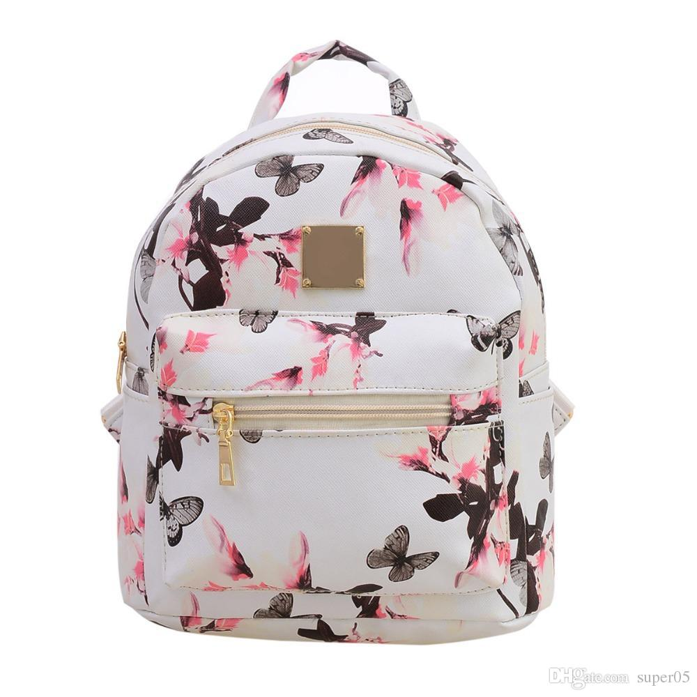 Fashion Floral Printing Women Leather Backpack School Bags for ... 35c12d47ff5f5