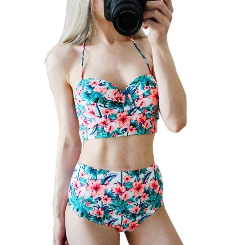 58adf0f2f5 Sexy Floral Print High Waist Swimsuit Bikini Push Up Swimwear Women Vintage Biquini  Bathing Suit Maillot De Bain Femme Xxl De Bain Femme Swimsuit Bikini ...