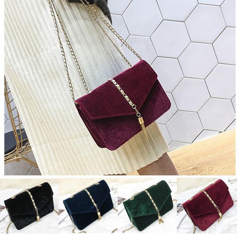 8e8682f8e225 Retro Gold Velvet Crossbody Bag Women Long Chain Shoulder Bag Messenger Bags  Female Tote Vintage Tassel Handbags Man Bags Crossbody Purses From ...