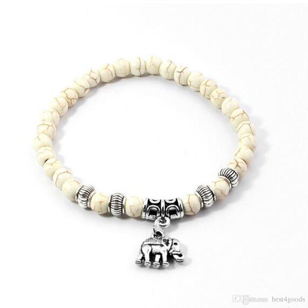 White Turquoise 6mm Beads Tibet Silver Elephant beaded Pendant Elastic Bracelet
