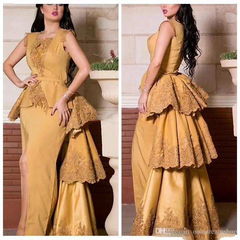 2018 Vogue Gold Middle East Saudi Arabia Evening Dresses Lace Appliques Sheath Fitted Peplum Prom Gowns Robe De Soiree Detachable Train