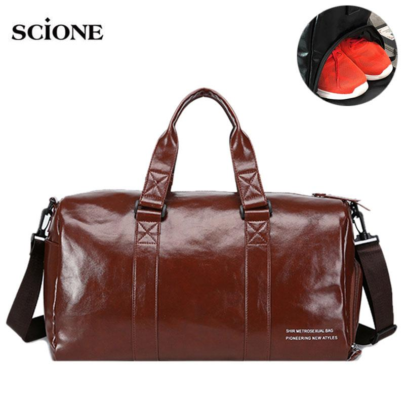 Leather Gym Bags Fitness Training Sports Bag For Men Women Sac De ... 2cbd765388