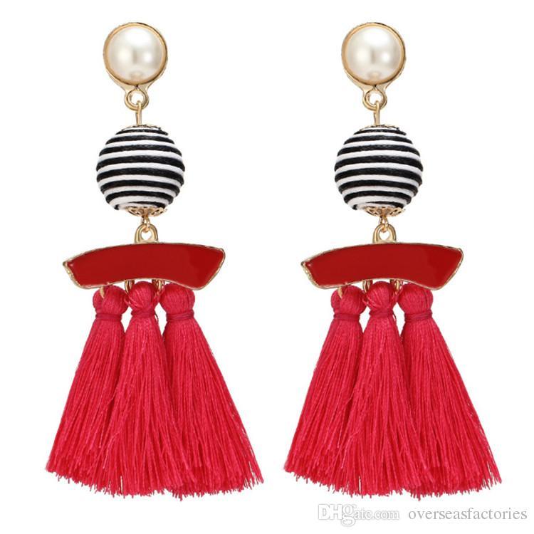 8f2b2b310 Multicolor Ball Pendant Tassel Earrings For Women Vintage Ethnic ...