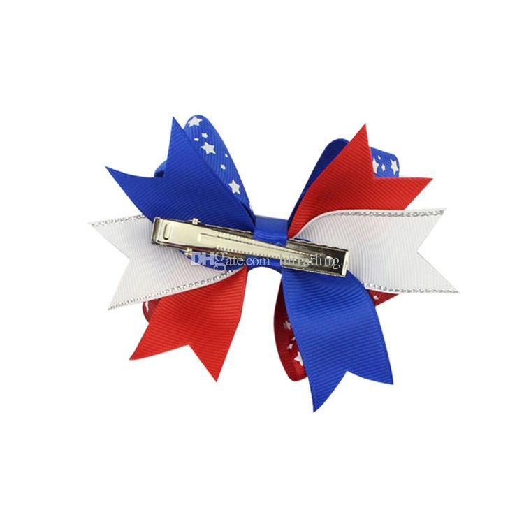 Haarspangen mit amerikanischer Flagge Haarspange Schwalbenschwanz-Haarnadeln Haarschleife mit Clip 4. Juli Kinder-Haarschmuck C4369