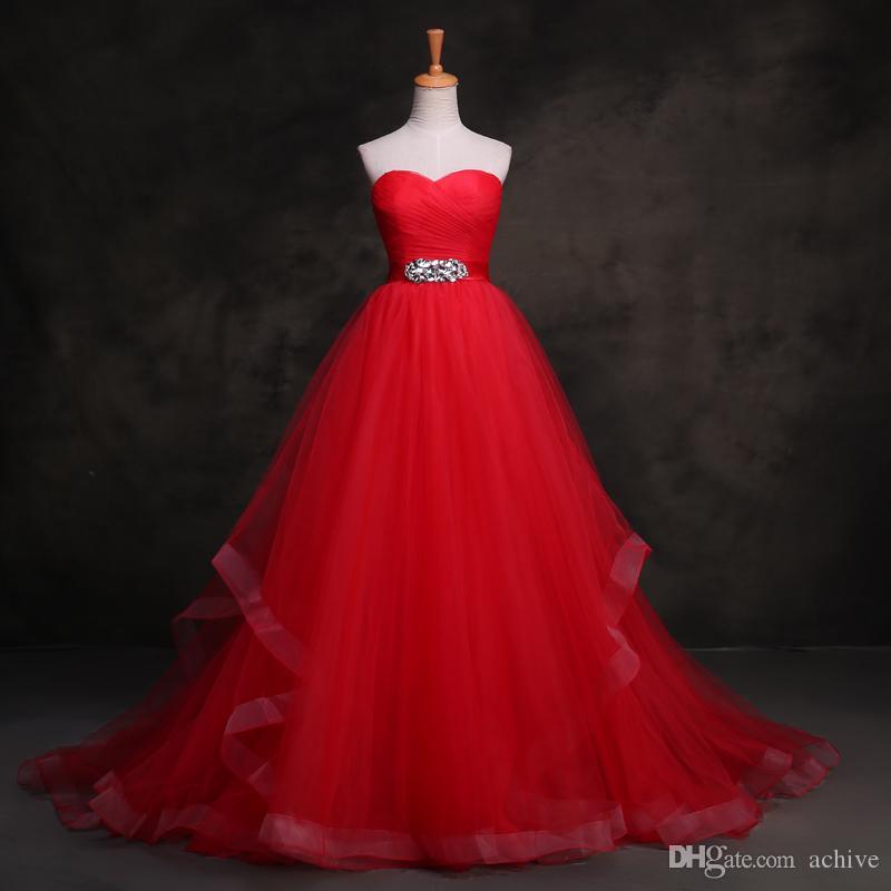 Véritables bretelles cristal rouge robes de mariée 2020 Custom Made froncé Sash Robes de mariée importées Chine Robes de mariée lavande robe de mariée