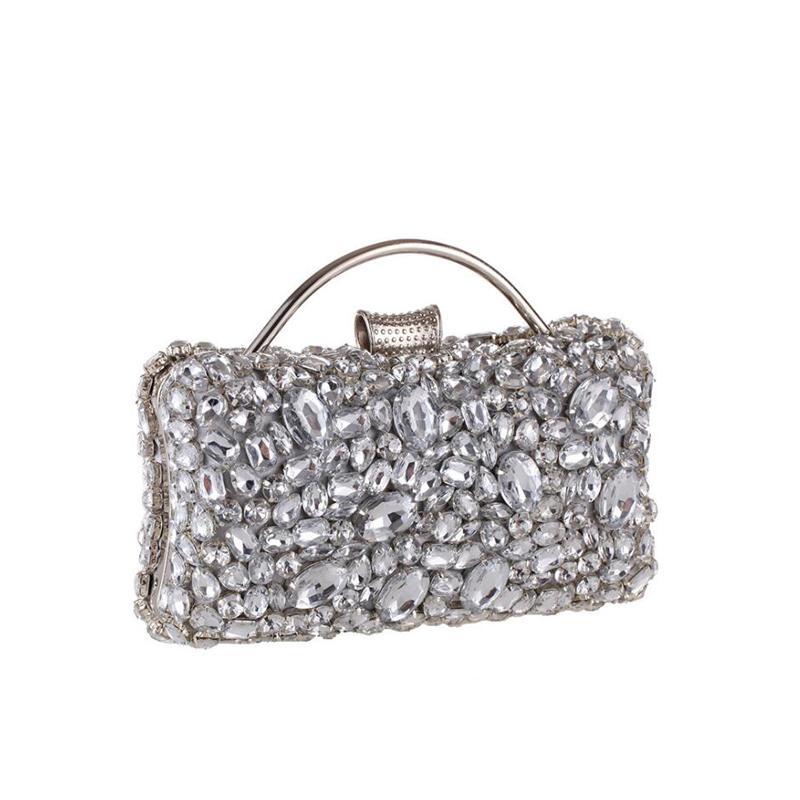 cc7d52f1115 Women Socialite Silver Rhinestones Crystal Evening Clutches Bag Wedding  Dress Bridal Diamond Chains Shoulder Handbags Purses NEW Red Handbags  Ivanka Trump ...
