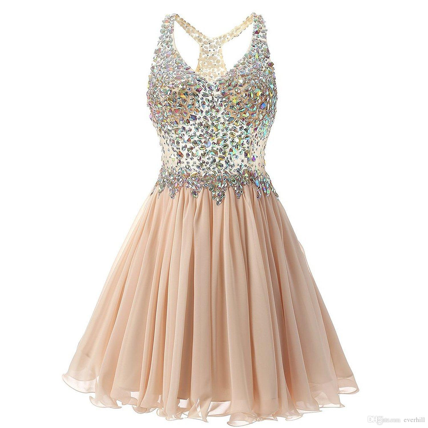 Sexy Girls Prom Dresses 2018 Short Beaded Crystal Luxury V Neck Sleeveless  Chiffon Teens Formal Party Gowns Homecoming Dresses A Line Prom Dress Shops  Prom ... 7ef93fa636c3