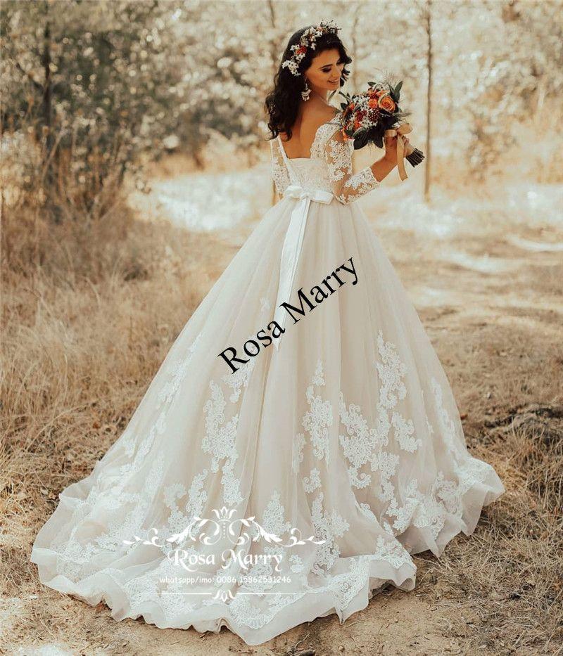 Plus Size Beach Country Wedding Dresses 2020 A Line 3/4 Long Sleeves Vintage Lace Cheap Greek Italy Bridal Gowns Vestido De Novia