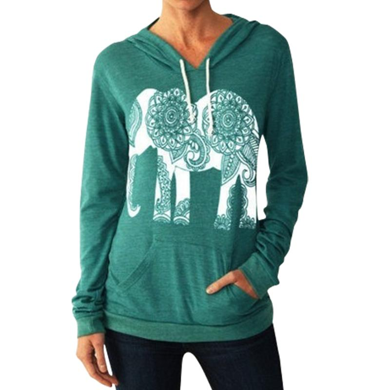 Fashion Women Hoodies Sweatshirts Long Sleeve Print Elephant Sweatshirt Casual Basic Mujer Hoodies Plus Size Clothing B6223C