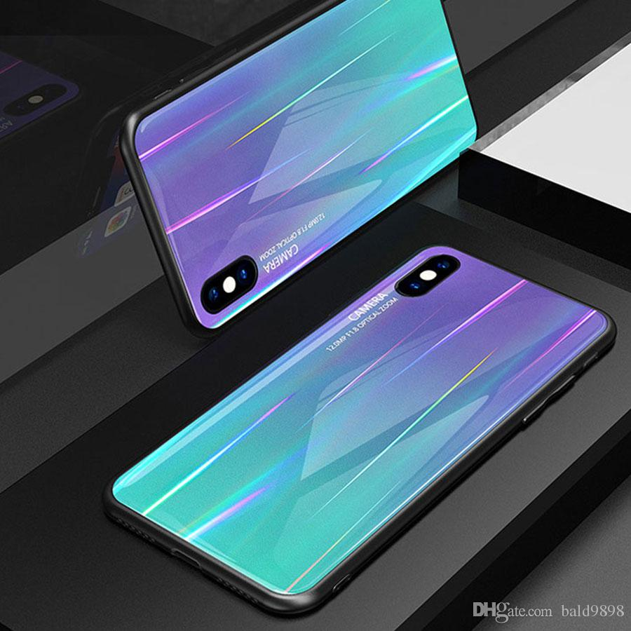 new product 8124a cacb9 Luxury Aurora Laser Glass Case for Samsung Galaxy S9 S9 Plus S8 Plus Note 9  Hard Plating Colorful Shining Glass Phone Back Cover for Galaxy