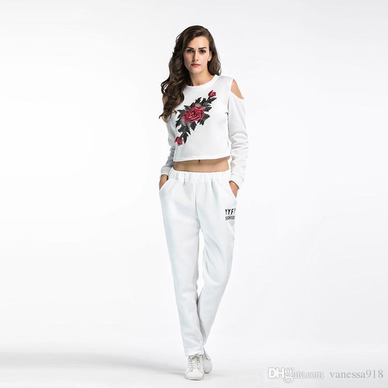 c793c94405f33 2019 Tracksuit Women Set Hoodies Crop Top Sweatshirt Pants Hooded Women  Clothing Suits Female Off Shoulder BM098 From Vanessa918
