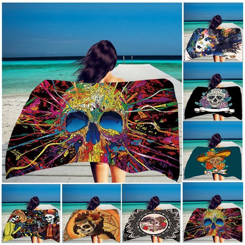 Rectangle Beach Towel Skull Rose Printed Pattern Bikini Shawl Girls