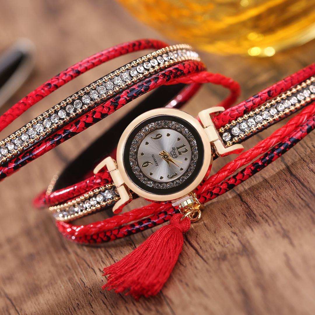 Vente Frangé Quartz Dames Montre Enroulement À Diamant Strass Modèles Féminins Bracelet RL435Ajq