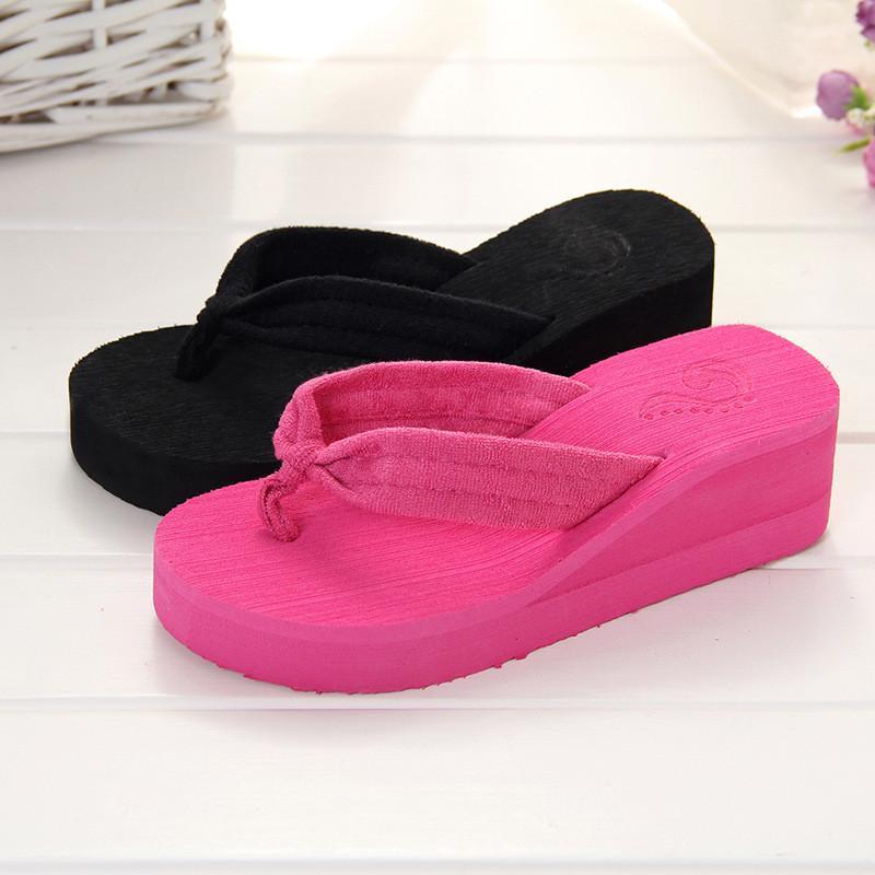 1d6f273ee794d5 CUWHF 2018 Summer Woman Shoes Platform Bath Slippers Wedge Beach Flip Flops  High Heel Slippers For Women Size 36 39 High Heel Boots Pumps Shoes From  Keyhess ...