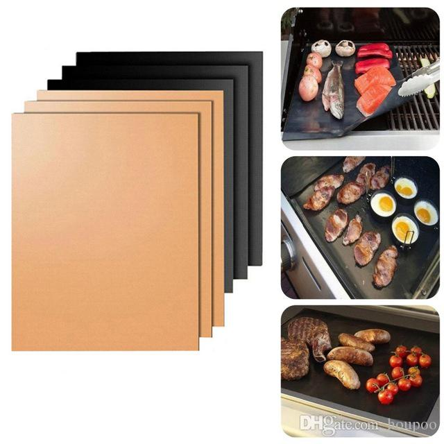 Non-Stick PTFE 33*40CM/24*34CM Black/Copper BBQ Gas Grill Barbecue Mat Reusable Cover Microwave Mats for Cooking Baking