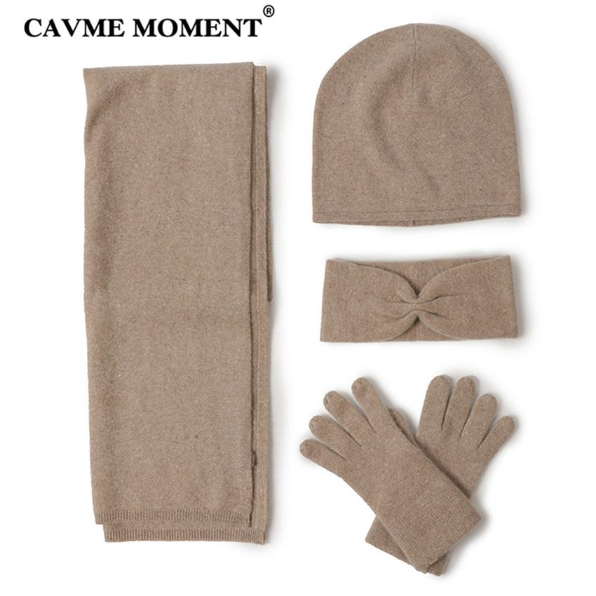 b1735cc63cd 2019 CAVME Cashmere Scarf Skullies Glove Set Knitting Cashmere For Ladies  Winter Women S Scarves Hat Gloves Headband Solid Color From Maocai