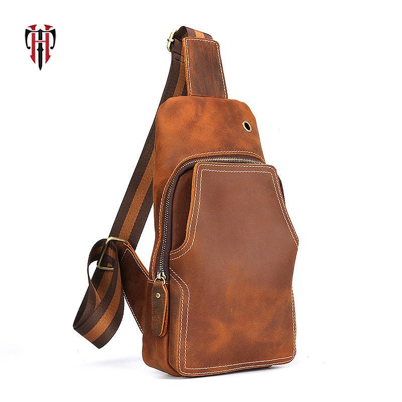 95b37df905 TIANHOO Genuine Leather Walking Men Bags Vintage Crazy Horse Leather ...