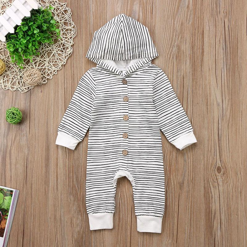 0-24M Newborn Toddler Baby Boys Girls Romper Hooded Tops Jumpsuit Clothes Outfit