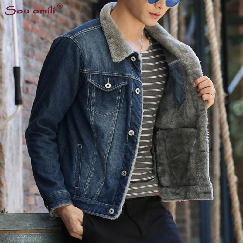 d8c708b0ac Winter Solid Mens Denim Jacket Fleece Coat Plus Size S 4XL 5XL Bomber Jacket  Men Cowboy Men S Jean Chaqueta Hombre Transparent Jacket Discount Leather  ...