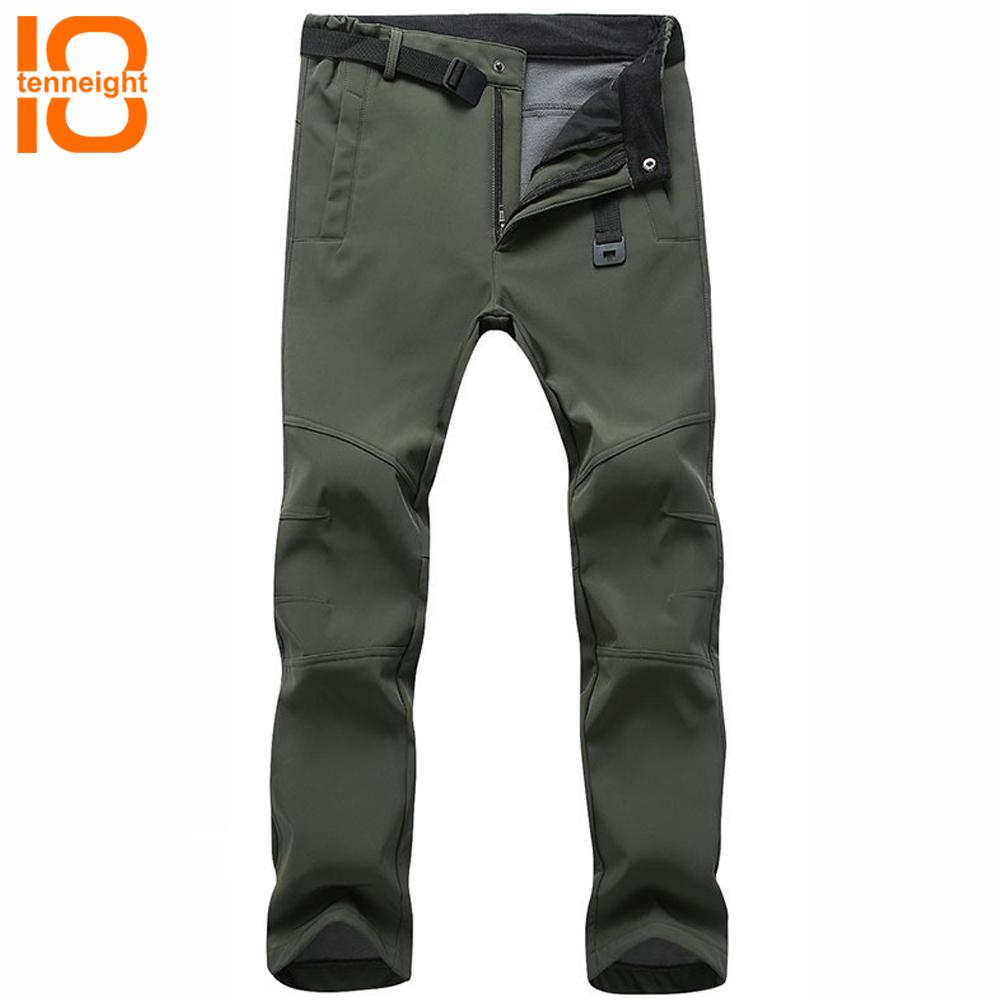 TENNEIGHT Sports Pants For Men Softshell Fleece Skiing Pants Outdoor Waterproof Hiking Warm Snow Snowboarding Trousers