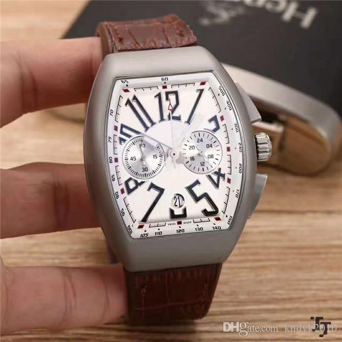 Casual Brand Classic Japan VK Quartz 904L Stainless Steel Mineral tempered glass Leather strap+Pin buckle Men Watch